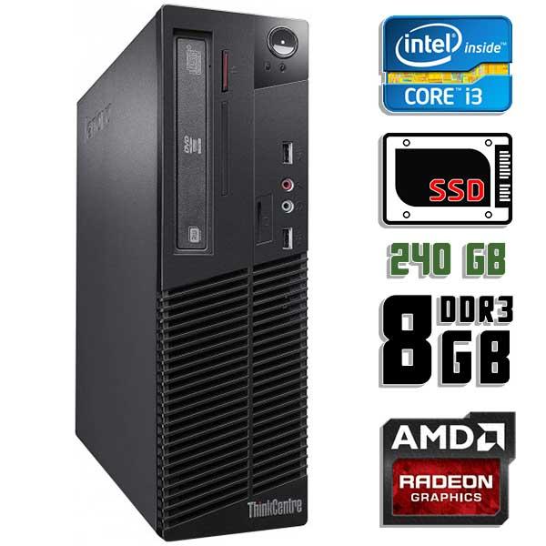 Игровой  компьютер б/у Lenovo ThinkCentre M72e SFF / Core i3 3220 / Radeon HD / 8Gb ОЗУ / SSD 240Gb