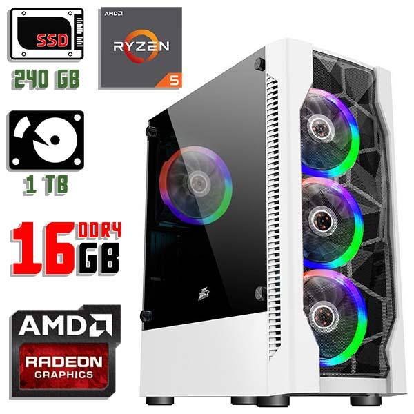 Игровой компьютер 1stPlayer D4-WH-R1 Color LED White - Ryzen 5 3400g / Vega 11 / 16Gb ОЗУ DDR4 / SSD+HDD
