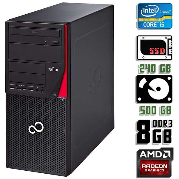 Игровой компьютер б/у Fujitsu Esprimo P720 / Core i5 4570 / RX 570 / 8Gb ОЗУ DDR3 / SDD+HDD