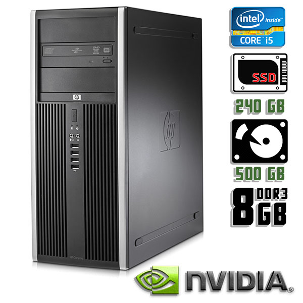 Игровой компьютер б/у HP Compaq 8300 Elite - Core i5 3470 / GTX 1050 Ti / 8Gb ОЗУ DDR3 / SDD+HDD