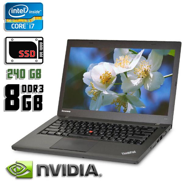 Игровой ноутбук б/у 14,1″ Lenovo ThinkPad T440P - Core i7 4600M / GeForce GT 730 / 8Gb ОЗУ DDR3 / 240Gb SSD / камера