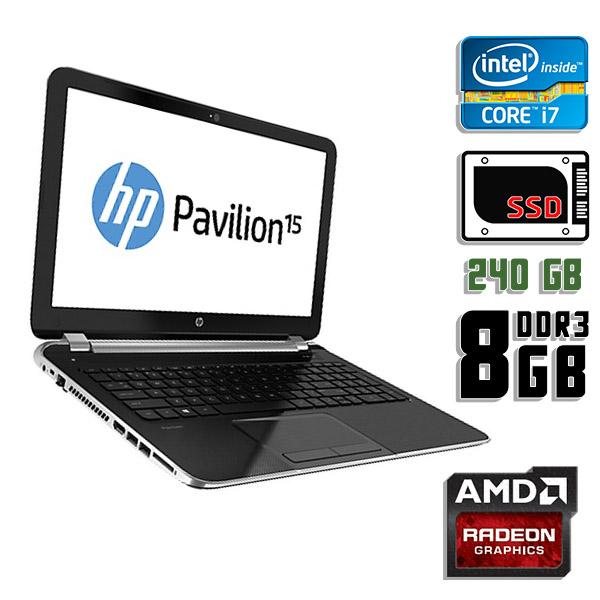 Игровой ноутбук б/у 15.6″ HP Pavilion 15-AC144ND / Core i7 4510U / Radeon R5 M330 / 8Gb ОЗУ DDR3 / 240Gb SSD