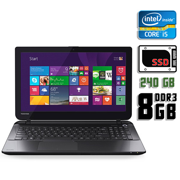 Ноутбук б/у 15,6″ Toshiba Satellite L50-B-2E6 - Core i5 5200U / 8Gb ОЗУ DDR3 / 240Gb SSD / Камера