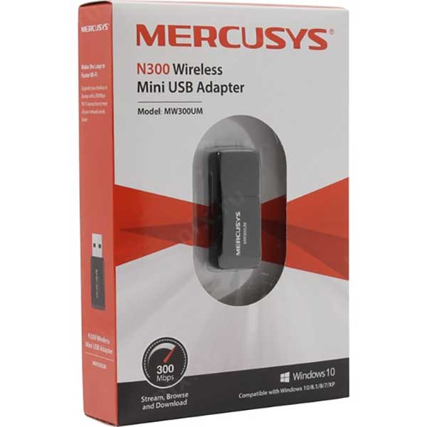 Беспроводной Wi-Fi адаптер Mercusys MW300UM / 300 mbps / 2.4 Ghz / 802.11B/G/N