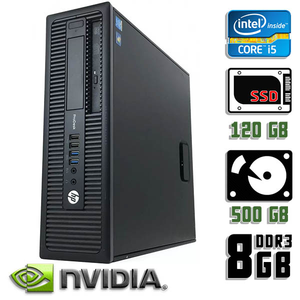 Игровой компьютер б/у HP ProDesk 600 G1 SFF - Core i5 4570 / GT 710 / 8Gb ОЗУ DDR3 / SDD+HDD