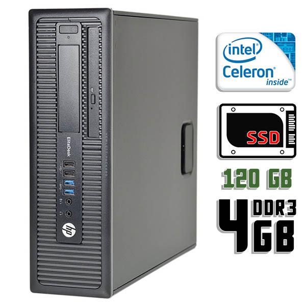 Компьютер б/у HP EliteDesk 800 G1 SFF / Celeron 4Gen / 4Gb ОЗУ DDR3 / 120Gb SSD