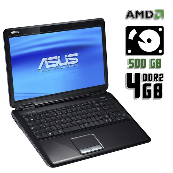 Ноутбук б/у 15,6″ Asus K51AC / 2-ядерный / 4Gb ОЗУ DDR2 / 500Gb HDD / камера